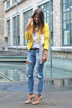 Boyfriend jeans and yellow blazer