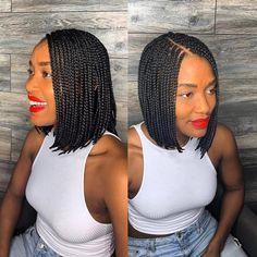 Short Box Braids Bob, Braids Bob Style, Bob Box Braids Styles, Short Box Braids Hairstyles, Small Box Braids, Box Braids Styling, Braided Hairstyles For Black Women, African Braids Hairstyles, Twist Braids