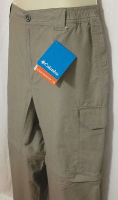 NWT Mens Columbia Beige Khanki Convertible Pants Shorts Med 32 Inseam UPF 15