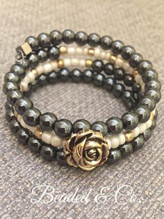 A personal favorite from my Etsy shop https://www.etsy.com/listing/606376812/black-hematite-rose-bracelet-boho-cuff