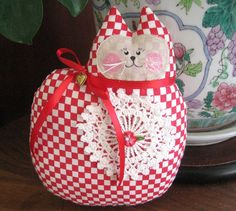 Valentine's Day Cat Pillow Doll Cloth Doll 7 by CharlotteStyle, 14.00