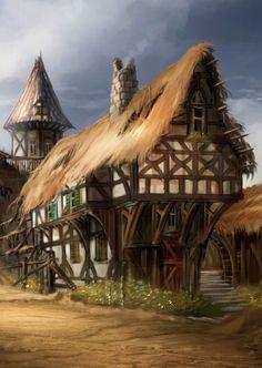tavern Paysage fantastique Paysage Architecture medievale