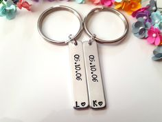 Handstamped Keychains, Couple Keychains, Personalize Couples, Anniversary Date, Couples Initials, Customized Keychains, Christmas Gift Her
