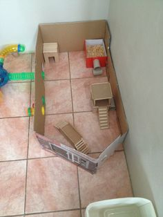 Diy gerbil playpen for when you need a secure space for some gerbil fun. Diy Hamster Toys, Gerbil Toys, Gerbil Cages, Hamster Habitat, Hamster Life, Hamster Stuff, Rat Toys, Hamster House, Popsicle Stick Crafts