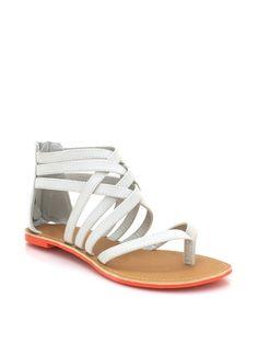 strappy woven sandals $18.00 in BLACK CORAL SEAGREEN STONE - Sandals | GoJane.com