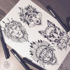 ideas tattoo lion back wolves for 2019 Wolf Tattoos, Lion Tattoo, Animal Tattoos, Body Art Tattoos, Tattoo Drawings, Sleeve Tattoos, Art Drawings, Tattoo Foto, Diy Y Manualidades