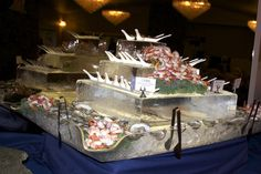 seafood station - Google Search Luau Birthday, Birthday Celebration, Ice Sculpture Wedding, Seafood Tower, Raw Bars, Table Set Up, Ice Sculptures, Ceviche, Birthday Candles