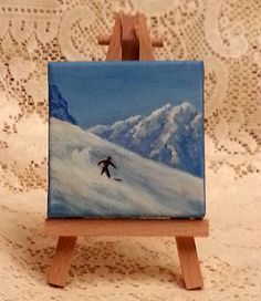 Miniature painting of a snowboarder in the by WindOnThePrairie, $25.00