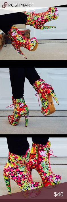 Floral Booties size 10. Diamond Flower is a trendy flirty bootie designed for the sexy edgy woman. Gorgeous sky high heels with supportive platform provides the perfect pop of color to your outfit! Worn once got compliments the entire time! I love them! Just like new! Very stylish. Blamer shoes Shoes Ankle Boots & Booties