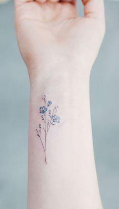 Or this one? Simple Flower Tattoo, Simple Tattoos On Wrist, Tiny Flower Tattoos, Delicate Tatoos, Inner Wrist Tattoos, Colorful Flower Tattoo, Beautiful Small Tattoos, Simple Tats, Tattoo Floral