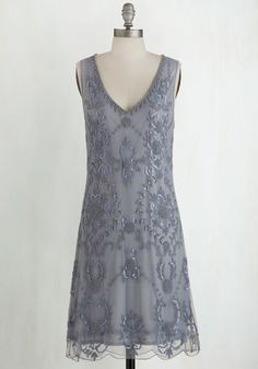 Bead It Dress in Grey From the Plus Size Fashion Community at www.VintageandCurvy.com    From The Plus Size Fashion Community At www.VintageAndCurvy.com