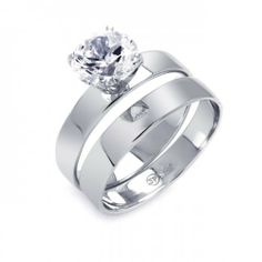 Valentines Day Gifts Bling Jewelry Classic 1.5ct Sterling Silver Engagement Wedding Ring Set Bling Jewelry. $59.99. Engravable band. Rings can be worn together or separately. .925 sterling silver with rhodium plating. Weighs 4 grams. Gorgeous 1.5 carat diamd CZ center stone