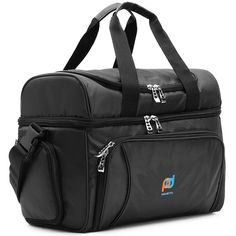 Cooler Bag Medium Size- 12x10x6.5 Inches.Two Insulated Compartment, Heavy Duty Polyester, High Density Insulation, 2 Heat Sealed Zip-Out Peva Liner, Many Pocket, Strong Double Zipper, Soft Lunch Box -- Find out more about the great product at the image link.