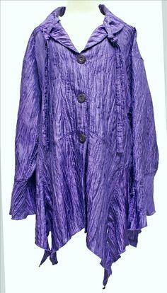 AKH Fashion Lagenlook Mode Zipfel Jacke gecrasht große Größen in lila bei www.modeolymp.lafeo.de