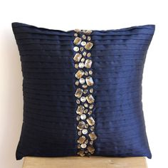 Decorative Throw Pillow Covers Accent Pillows Couch Cases 20x20 Pillow Cover Silk Dupioni Rhinestones Embroidered Navy Blue Crystals Bedding