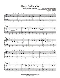 Always On My Mind by Willie Nelson Piano Sheet Music | Rookie Level