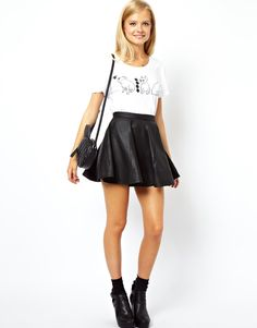 ASOS Skater Skirt in Leather Skirt by ASOS Collection - Made from leather- Smooth matte finish- Stitched seam detail- Zip back closure- Soft pleats- Regular fit. #love
