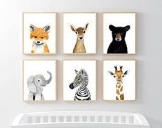 Nursery animals print set, Set of 6 Prints, giraffe, zebra, fox, deer, rabbit, bear, woodland nursery set, nursery print set