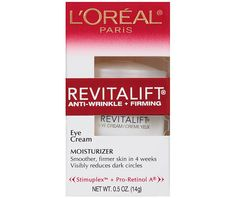 L'Oréal Paris Revitalift Anti-Wrinkle + Firming Eye Cream Moisturizer, oz, Multicolor Firming Eye Cream, Skin Firming, Anti Aging Cream, Anti Aging Skin Care, Homemade Eye Cream, Cellulite Scrub, Reduce Dark Circles, Best Eye Cream, Centella