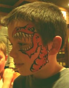 Fun new placement- Dragon Dinosaur Face Painting, Dragon Face Painting, Face Painting For Boys, Face Painting Designs, Body Painting, Animal Face Paintings, Animal Faces, Adulte Halloween, Christmas Face Painting