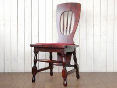 Chair 【アンティーク 木製の背付き椅子 丸足】 古家具チェアスツール インテリア 雑貨 Antique ¥1000yen 〆07月09日