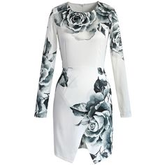 Featuring unique peony engraving print, body;conscious cut and asymmetric hem, this feminine piece is a sound choice for many occasions.