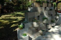cinder-block container garden wall