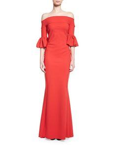 Off-the-Shoulder+Ponte+Gown,+Passion+by+La+Petite+Robe+di+Chiara+Boni+at+Neiman+Marcus.