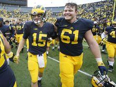 Michigan quarterback Jake Rudock and offensive lineman
