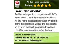 Best home inspection company in middle TN hands down. I trust Jeremy and the team at...