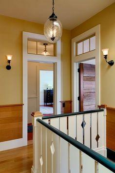 Summer Lake House - traditional - hall - burlington - by Smith & Vansant Architects PC Door Design Interior, Interior Windows, Window Design, Church Interior, Window Above Door, Stained Wood Trim, House Trim, Hallway Designs, Transom Windows