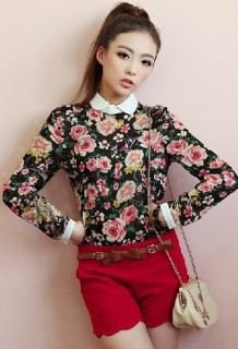 Wholesale Zanzea®Peter Pan Collar Floral Print Blouse