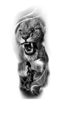 Lion Tattoo Sleeves, Wolf Tattoo Sleeve, Full Sleeve Tattoo Design, Lion Tattoo Design, Forearm Tattoo Men, Sleeve Tattoos, Tattoo Designs, Warrior Tattoos, Viking Tattoos