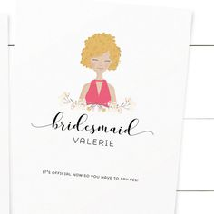 Personalized Bridesmaid Card, Custom Illustration, Will You be My Bridesmaid Gift, Maid of Honor Proposal, Ask Card, Digital, Printable Card by PrintableMatter on Etsy