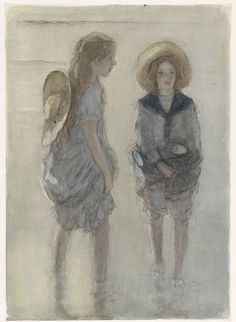 Twee pootjebadende meisjes met grote strohoeden, Johan Antonie de Jonge, 1874 - 1927