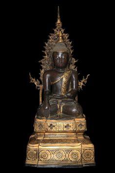 Extremely Rare 18C Bronze Burma Shan Buddha #BB173