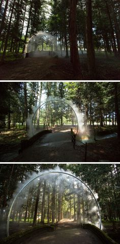"""Australian artist James Tapscott was commissioned by the Japan Alps Art Festival to great a site-specific art piece, which he named """"ARC ZERO - NIMBUS"""". // So important to stay cool at outdoor events as the summer temps climb. Landscape Lighting Design, Landscape Concept, Landscape Art, Landscape Architecture, Water Sculpture, Water Art, Art Festival, Public Art, Land Art"""