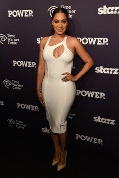 """The Beautiful """"Lala Anthony"""" Power Premiere House of CB Elisia White Peekaboo Bandage Dress"""