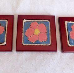 Love beach roses well  Here's 3 framed tiles