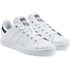 Adidas Originals Stan Smith Leather Sneakers (1 055 ZAR) ❤ liked on Polyvore featuring shoes, sneakers, white, leather shoes, genuine leather shoes, white trainers, white leather sneakers and leather trainers