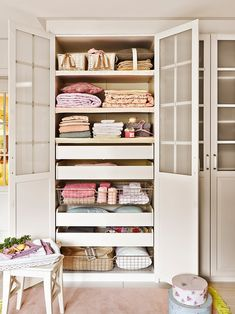 clothes closet of the house with open doors Pantry Closet Organization, Closet Storage, Closet Shelves, Hall Cupboard, Cupboard Storage, Home Design Decor, Home Room Design, Home Decor, Linen Storage