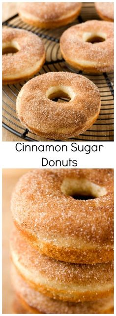 Cinnamon Sugar Donuts - fluffy baked donuts coated with cinnamon sugar. You need to try these!