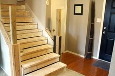 Diy refinishing stairs (inexpensively). http://www.remodelaholic.com/2013/02/budget-stair-remodel-wood-to-carpet-tread-makeover/