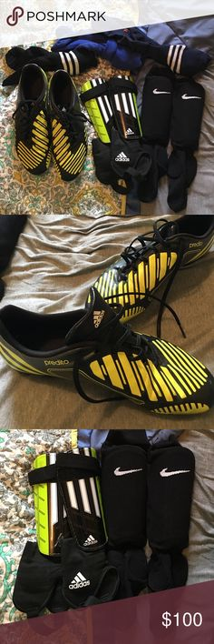 Soccer bundle!! Adidas predito cleats in good condition along with two pairs of shin guards (one Nike and one adidas) and three pairs of soccer socks! Shin guards come with ankle protection as well. Adidas Shoes Athletic Shoes