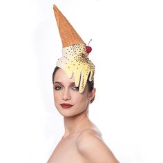 This Ice Cream Cone Fascinator stays cool even as its melting! A dessert headpiece perfect for events and special occasions and for the woman whos
