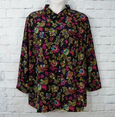 NEW Womens Plus ROAMANS Multi-Color Floral Micro Fiber Button Front Top Size 3X #Roamans #Blouse #Casual