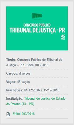 Estão abertas as inscrições do Concurso Público do TJ – PR, destinado à contratação de profissionais de nível superior.