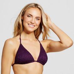 Women's Crochet Triangle Bikini Top - Dark Plum Purple - XL - Mossimo