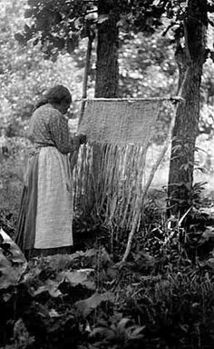 Woman weaving bull rush mats. Creator: Frances Densmore (1867-1957) Photograph Collection, 1910 Collections Online Minnesota Historical Society