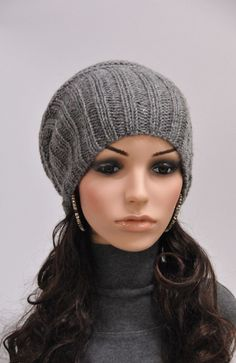 Hand knit hat Grey Chunky Wool Hat slouchy hat by MaxMelody